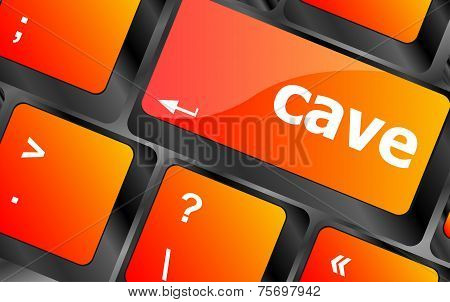 Cave Key On Computer Keyboard Button