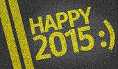 stock photo of bye  - Happy 2015 written on the road - JPG