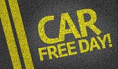 stock photo of polution  - Car Free Day written on the road - JPG