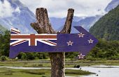 picture of biodiversity  - New Zealand wooden sign with a forest background - JPG