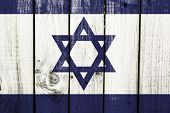 stock photo of masada  - Israel flag on wooden background - JPG
