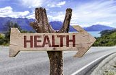 pic of modification  - Health wooden sign with a street background  - JPG