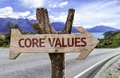 foto of conduction  - Core Values wooden sign with a street background  - JPG