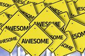 stock photo of unbelievable  - Awesome written on multiple road sign  - JPG