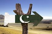 picture of pakistani flag  - Pakistan wooden sign with a desert background - JPG