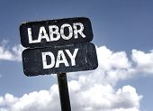 stock photo of labor  - Labor Day sign with clouds and sky background  - JPG