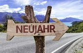 """pic of reveillon  - """"Neujahr"""" (In German: New Year) sign with a street background  - JPG"""