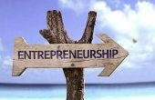 image of entrepreneurship  - Entrepreneurship wooden sign with a beach on background  - JPG