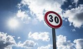 stock photo of mph  - road sign indicating a very low limit of the Speed - JPG