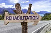 image of pain-tree  - Rehabilitation wooden sign with a road background - JPG