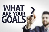 picture of goal setting  - Business man pointing to transparent board with text - JPG
