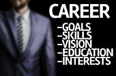 picture of descriptive  - Career description written on a board with a business man on background - JPG