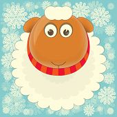 stock photo of sheep  - New Year Card with Cute Cartoon Big Sheep on Snowy Background - JPG
