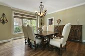image of buffet  - Dining room in luxury home with large buffet - JPG