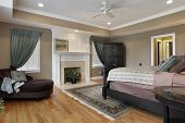 picture of master bedroom  - Master bedroom with fireplace and rug - JPG