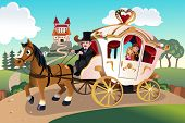foto of wagon  - A vector illustration of prince and princess in a horse pulled wagon - JPG