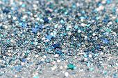 stock photo of xmas star  - Blue and Silver Frozen Snow Winter Sparkling Stars Glitter background - JPG