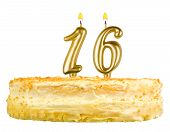 picture of sweet sixteen  - birthday cake with candles number sixteen isolated on white background - JPG