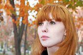 stock photo of freckle face  - Pretty red hair girl face with freckles against red autumn foliage - JPG