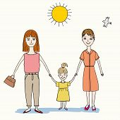 pic of lesbian  - two lesbian woman holding a little girl with her hands vector eps 8 - JPG