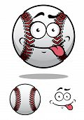 stock photo of cheeky  - Cartoon baseball ball with a cheeky grin and protruding tongue with a second plain variant - JPG