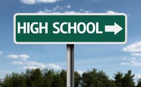 stock photo of post-teen  - High School creative sign - JPG