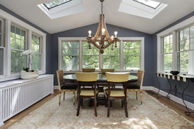 image of screen-porch  - Porch in suburban home with skylights - JPG