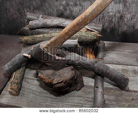 Axe in stump.
