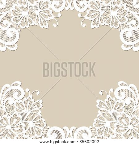 White flower frame, lace mehendi ornament
