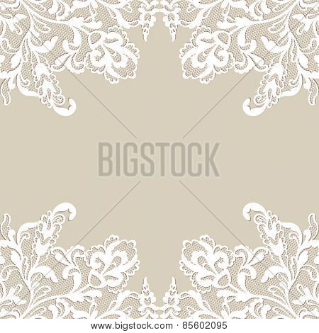 White flower frame, lace flower ornament