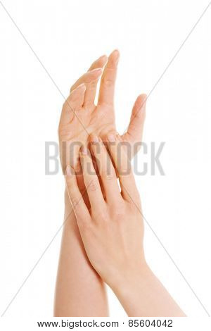 Close up on beautiful female hands.