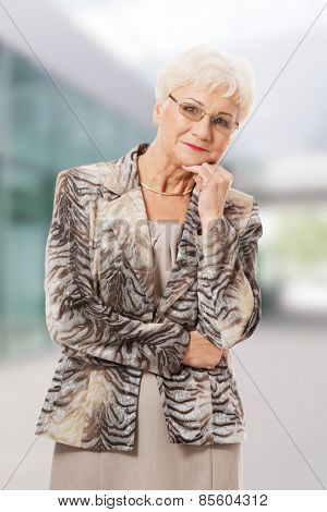 Old elegant lady having her hand under chin