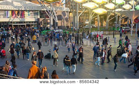 LONDON, UK - NOVEMBER 29, 2014: Stratford international train, tube and bus station, one of the bigg