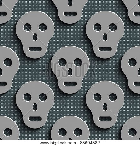 Seamless Skull Pattern. Abstract Gray Background. Vector Regular Texture