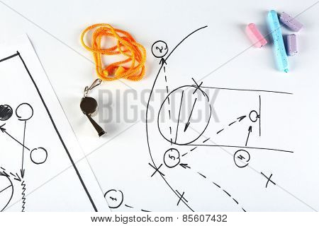 Scheme basketball game on sheet of paper background