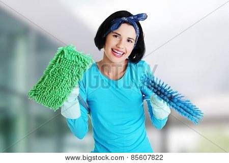 Happy smiling cleaning woman portrait