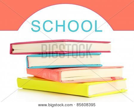 Back to school concept. Colorful notebooks, isolated on white