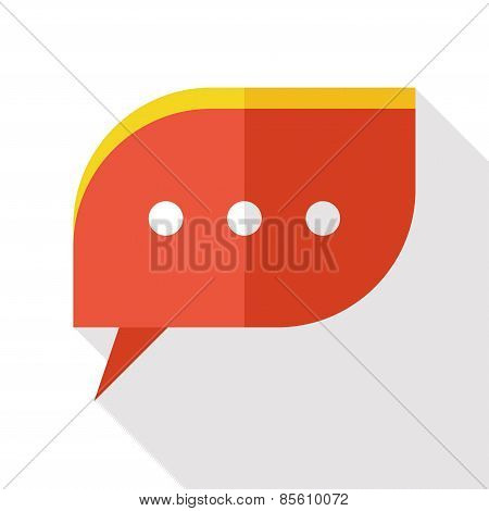 Message Flat Icon With Long Shadow