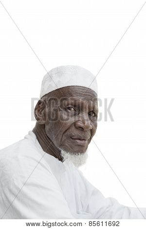 Man wearing a white garment, eighty years old, isolated