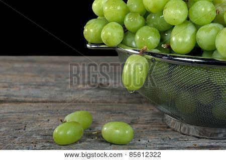 green grapes in colander