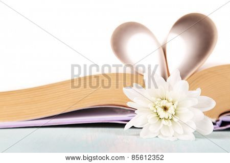 Open book with shape of heart from pages and flower isolated on white