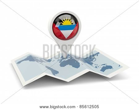 Round Pin With Flag Of Antigua And Barbuda