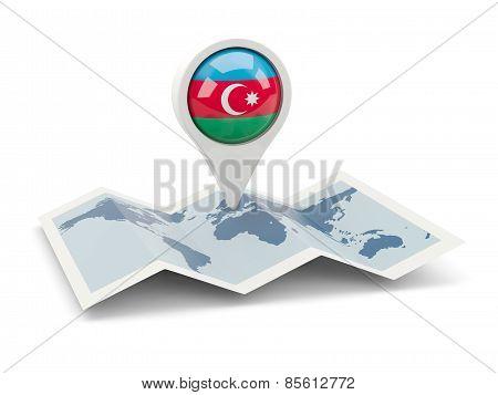 Round Pin With Flag Of Azerbaijan