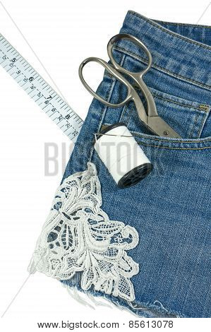 Jeans Decorated With Lace Isolated On White
