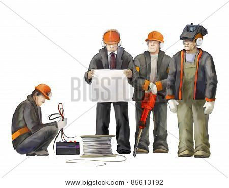Welder, electrician, jack hammer worker, deputy manage, architect and project manager. Builders wor