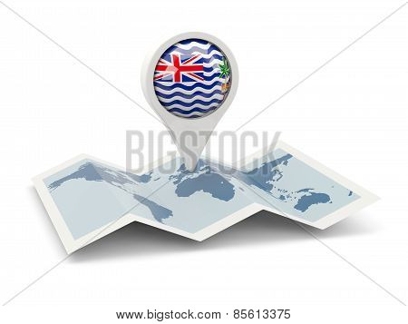 Round Pin With Flag Of British Indian Ocean Territory