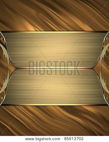 Gold Background With Gold Nameplate. Design Template. Design Site