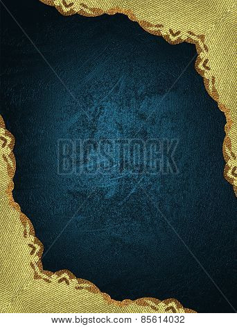 Template Gold Ornaments On Blue Background. Design Template