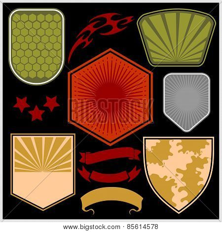 Military shields and elements - vector set.