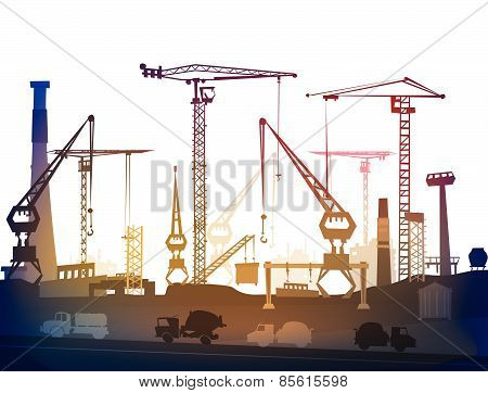 PrintIndustrial site view with cranes. Heavy industry background